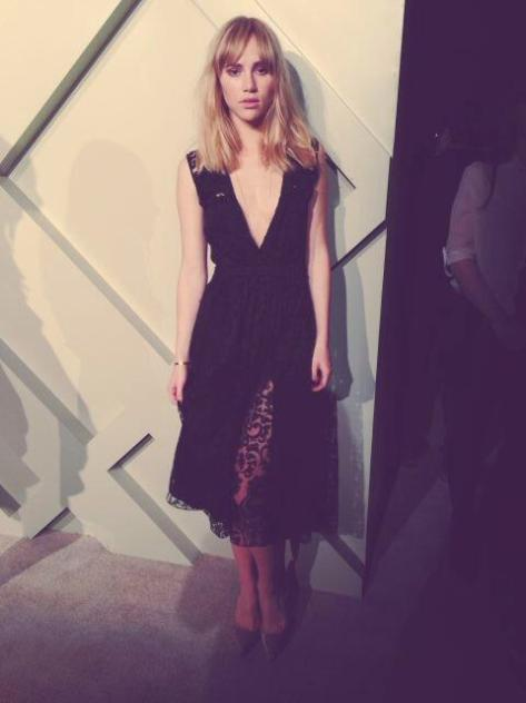 British model Suki Waterhouse wearing a black lace Burberry dress on the red carpet - live from Shanghai - Executive Salad