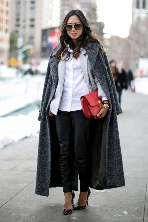 Song of Style - In Grey Coat and Leather Pants - Executive Salad