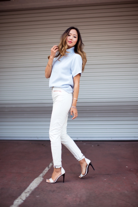 Song of Style - Asos White Leather Pants - Executive Salad