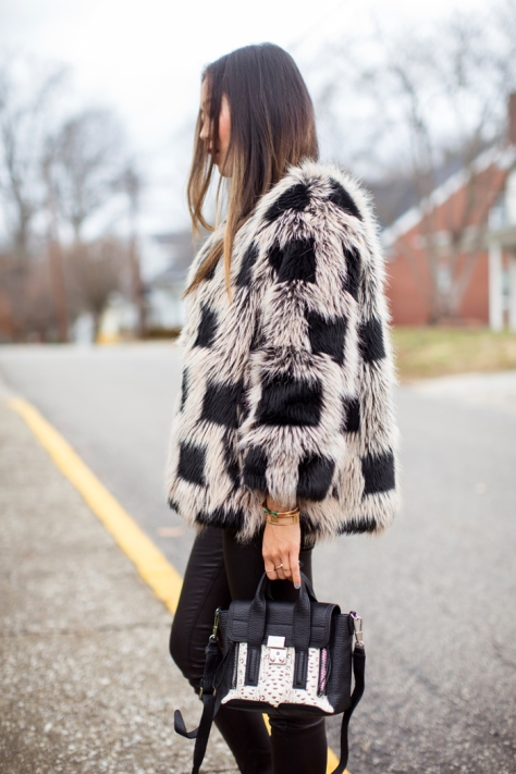 Song of Style - Faux Fur Jacket and Philip Lim Bag - Executive Salad