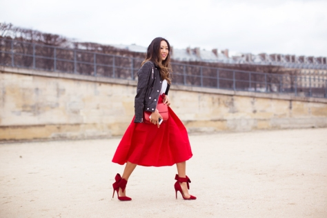 Song of Style - Red Skirt and Red-Bow Pumps - Executive Salad